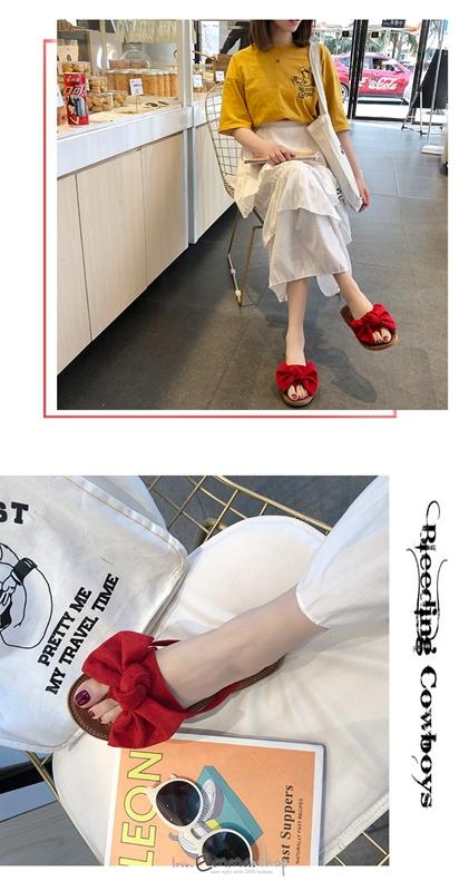 EmmaShop艾購物-韓國同步上新糖果色甜美可愛蝴蝶結休閒涼拖鞋/平底