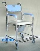 便器椅/洗澡椅/助行器:JCS-205 鋁合金有輪洗澡便器椅..加推手