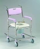 便器椅/洗澡椅/助行器:JCS-302 不銹鋼洗澡便器椅..加推手