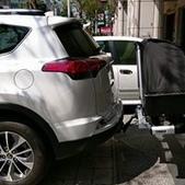 Toyota車系安裝範例:Toyota Rav 4美規拖車架+拖車式攜車架*2+1台份(G6)+拖車式可折疊行李箱(Thule Backspace).