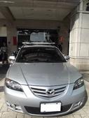 Mazda車系安裝範例:Mazda-3車頂架(Thule-753)+車頂攜車架x2台份(Thule-598b)