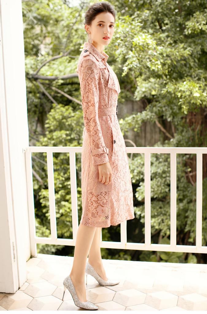 limiting_girl 預購 2019【歐洲時裝指標】1005 法國知性之旅 率性X柔美 蕾絲交織翻領繫帶風衣外套