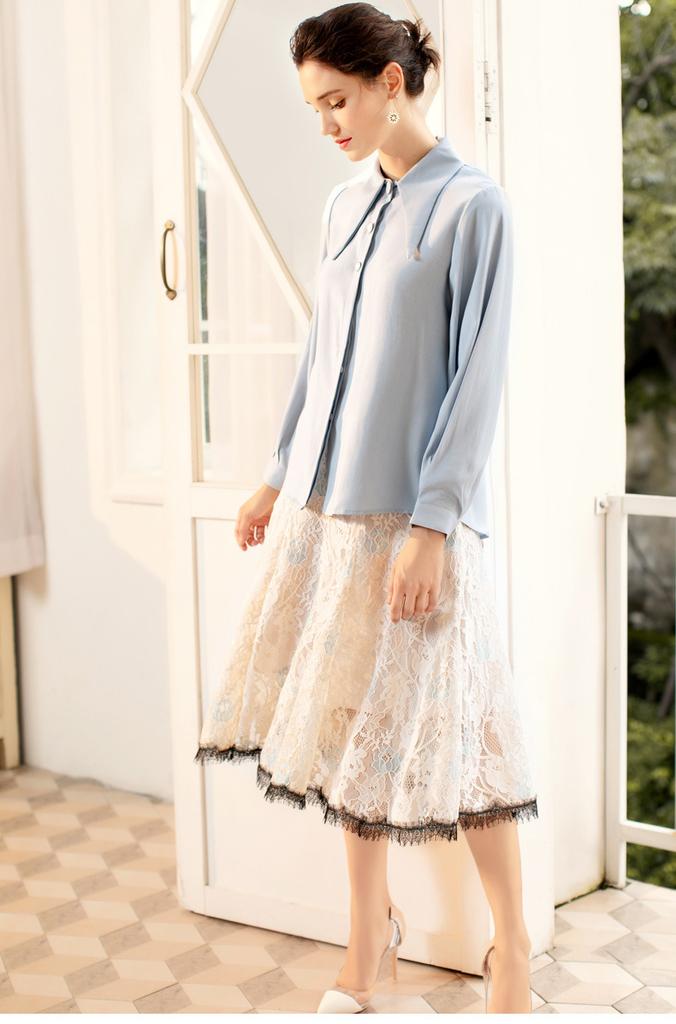 limiting_girl 預購 2019【歐洲時裝指標】1005 優雅氣質 別緻小潘領剪裁 淨色百搭款 上衣襯衫