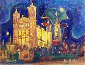 鄭美珠2001-05年油畫:法國里昂之夜oil48.jpg