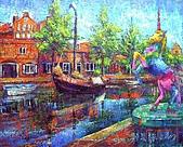 鄭美珠2007年與荷蘭有關畫作:小鎮的守護者—獨角獸/荷蘭-荷恩〈修正版〉