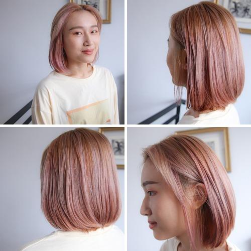 水嫩粉手刷染漸層色 士林染髮 - 水嫩粉手刷染漸層色